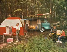 Camping style, with Chevy Corvair Greenbrier van. Camping Photo, Go Camping, Camping Hacks, Outdoor Camping, Retro Camping, Camping Hammock, Camping Trailers, Winter Camping, Outdoor Gear