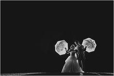 Miranda Parker Photography: Lisa and Brian | Tullymore Wedding Backlit Night Photography Umbrellas