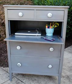 easy hack!  just remove drawer front (use old dresser without fancy track systems) and add hinges!  cut a hole in the back for cables