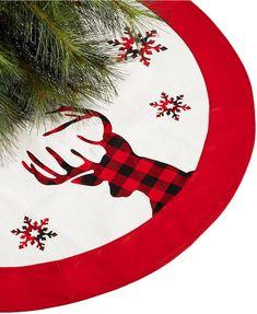 b97a4ce37 Holiday Lane Plaid Reindeer Christmas Skirt, Created for Macy's #affiliate  Rustic Christmas Tree Skirts