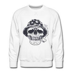 Crâne de fumeur - Men's Premium Sweatshirt Crane, Crew Neck Sweatshirt, Graphic Sweatshirt, Skull Design, Cool Stuff, Sweatshirts, Funny, Fabric, Sleeves