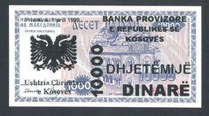 KOSOVO  Yugoslavia 10 000 Dinare 1999 UNC  P8  PROVISIONAL ISSUE , VERY RARE