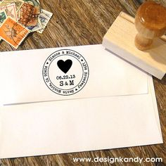 Heart Address Stamp for Save the Dates & Wedding by Designkandy, $23.95