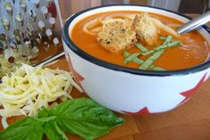 Creamy Tomato Soup with Garlic-Herb Croutons (GF, DF)
