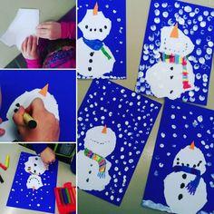 """Gefällt 26 Mal, 3 Kommentare - Steffi (@frida_fritzi) auf Instagram: """"Schneemänner für Klasse 1 😍 Reißen, tupfen, schneiden, kleben, malen,... Die Kinder lieben den…"""""""