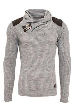 Red Bridge Herren Strickpullover Style Funnel Kragen Designer Slim Fit Pullover R41500 (S, Grau): Amazon.de: Bekleidung