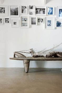 = rustic bench and art wall Gallery wall Bedroom Decor, Wall Decor, Wall Art, Art Walls, Wall Collage, Interior And Exterior, Interior Design, Modern Interior, Decoration Design