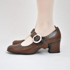 Vtg 70's Genuine Leather Brown Mary Janes With Silver Round Buckle and Perforated Detail