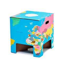 World Cube by Dutch Design Chair, now featured on Fab and WAY on sale. Cardboard Chair, Cardboard Paper, Cubes, Cool Kids Rooms, Folding Stool, Kids Furniture, Design Awards, Chair Design, Kids Bedroom