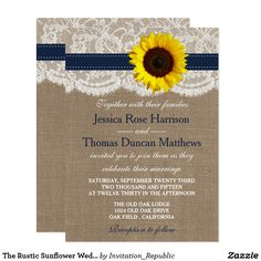 The Rustic Sunflower Wedding Collection - Navy Card The rustic sunflower collection is a stunning design featuring a lovely rustic burlap effect background with a romantic vintage white lace effect trim finished with a stunning sunflower and navy blue ribbon. These invitations can be personalized for your special occasion and would make the perfect announcement for a wedding, bridal shower, engagement party, birthday party and much, much more.