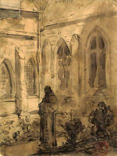 Constantin Meunier - Abbey of Westmalle. Pen and inkwash. Royal Library of Belgium