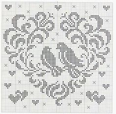 Kira scheme crochet: Two hearts with a birdie Crochet Patterns Filet, Doily Patterns, Crochet Motif, Crochet Doilies, Crochet Squares, Cross Stitch Patterns, Embroidery Patterns, Crochet Birds, Crochet Cross