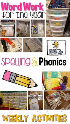 and Phonics - Step by Step A year of word work for daily 5 or spelling for guided reading.A year of word work for daily 5 or spelling for guided reading. Word Work Activities, Spelling Activities, Literacy Activities, Interactive Activities, Phonics Worksheets, Reading Activities, Physical Activities, Phonics Words, Spelling Words
