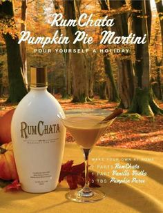 Pumpkin Pie Martini: 2 parts Rum Chata. 1 part Vanilla Vodka 3 tbs. Pumpkin Pie filling (or substitute 1 part pumpkin syrup) Pinch of Cinammon Shake with ice and strain into a martini glass; sprinkle with cinnamon Acholic Drinks, Fall Drinks, Holiday Drinks, Party Drinks, Cocktail Drinks, Yummy Drinks, Holiday Cocktails, Martini Party, Drinks Alcohol