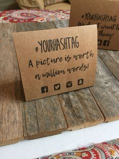 Items similar to Social Media Personalized Hashtag Table Tents for your Event on Etsy Themed Parties, Party Themes, Birthday Parties, Wedding Photo App, Wedding Signs, Our Wedding, Online To Offline, Engagement Party Planning, Business Launch