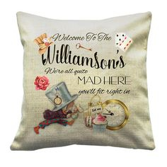 Mad Hatter. 16X16 Personalised. Alices Adventures In Wonderland. Cushion, Your Name Here ★★★★*Please leave me the required name on checkout★★★★ ★★★★★★be like Santa check it twice, we want to get it right for you, and we cant refund on customized products★★★★★ ***natural linen