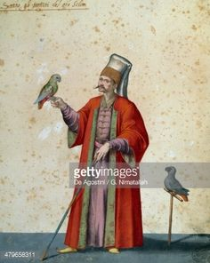 Stock Illustration : Usher to great selim with parrots, drawing by Jacopo Ligozzi (1547-1627)