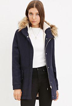 Plush Faux Fur Hood Coat   Forever 21 - 2000180012
