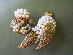 Poodle Dog Brooch Glass Pearls Gold Tone Red by RenaissanceFair