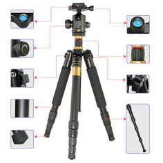 Portable Aluminum Monopod Professional SLR Camera Tripod for SLR Video Tripod 5 Section Stand Camera Steady Photography Black Z-XFY Tripod Set
