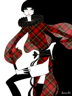 Pin Up Illustration, Illustration Artists, Fashion Illustrations, Fashion Sketches, Fairytale Art, Fashion Art, Fashion Design, Tartan Plaid, Draping