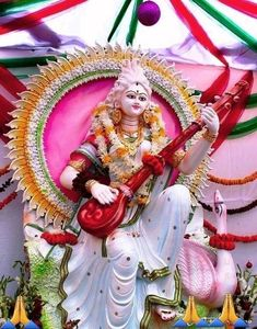 Saraswati Puja Pandal, Saraswati Murti, Saraswati Goddess, Durga Maa, Shiva Shakti, Hanuman, Durga Images, Lakshmi Images, Ganesh Lord