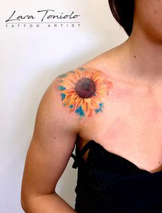 B-Hills Tattoo Company Watercolor Tattoo Artists, Watercolor Sunflower, Tattoos For Women, Piercing, Lady, Female Tattoos, Piercings, Body Piercings, Tattoo Women