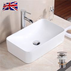 Great Small Bathroom Sink Rectangle Counter Top Cloakroom Hand Basin Ceramic Bowl  UK Pictures