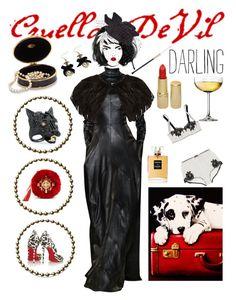 """Movie Style: 101 Dalmatians (Cruella De Vil) (1/5)"" by bananmontan on Polyvore featuring Sissa, Talbot Runhof, MCM, Scala, Dolce&Gabbana, Phase Eight, Alexis Bittar, Christian Louboutin, Chanel and Revlon"