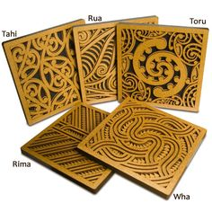 Rima Tile Art set of five Wall mounted or free standing Kowhaiwhai feature tiles with related stories on the back, presented in stylish window envelopes. Wood Carving Designs, Wood Carving Patterns, Arabesque, Maori Patterns, Polynesian Art, Maori Designs, New Zealand Art, Nz Art, Maori Art