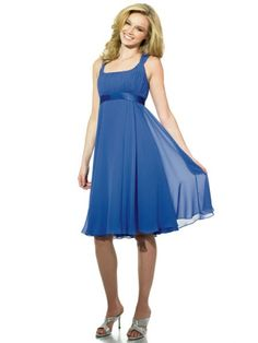 Scoop Tea Length Blue Bridesmaid Dresses BRD011047