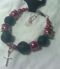 Lava Rock and Raspberry Pearl Cross Bracelet