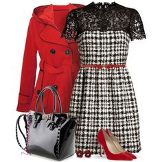Red Coat by yasminasdream on Polyvore featuring polyvore, fashion, style, Valentino, Brian Atwood, Dorothy Perkins and Trilogy