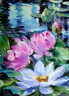 New flowers painting canvases art ideas 58 Ideas Watercolor Flowers, Watercolor Paintings, Art Paintings, Painting Flowers, Lily Painting, Painting & Drawing, Acrylic Painting Canvas, Canvas Art, Lotus Art