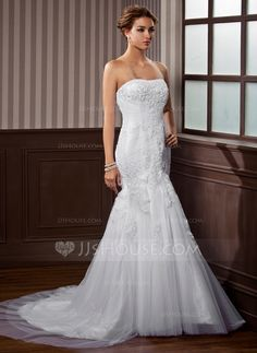 Wedding Dresses - $186.99 - Trumpet/Mermaid Sweetheart Chapel Train Satin Tulle Wedding Dress With Ruffle Lace Beadwork (002004544) http://jjshouse.com/Trumpet-Mermaid-Sweetheart-Chapel-Train-Satin-Tulle-Wedding-Dress-With-Ruffle-Lace-Beadwork-002004544-g4544?ves=vnlx6