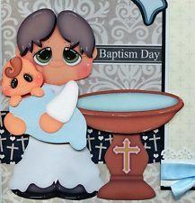 BAPTISM BABY BOY  2 premade scrapbook pages paper piecing layout 4 album CHERRY
