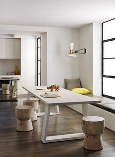Modern And Minimalist Dining Room Design Ideas - Kitchen Design Ideas & Inspiration Farmhouse Dining Room Table, Modern Dining Table, Kitchen Dining, Dining Rooms, Dining Tables, Table Stools, Wooden Stools, Dining Area, Stump Table