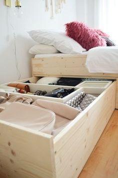 diy-minimalistisches-stauraumbett-diy-storage-bed-build-with-plywood-diy/ SULTANGAZI SEARCH Diy Storage Bed, Small Bedroom Storage, Small Space Storage, Storage Spaces, Storage Ideas, Extra Storage, Hidden Storage, Organization Ideas, Plywood Storage