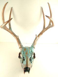 Copper Natural Aqua Patina Deer Skull By MayaJadeCreations on etsy. Deer Skull Art, Deer Skulls, Animal Skulls, Skull Decor Diy, Skull Crafts, Deer Antler Crafts, Antler Art, Skulls For Sale, Deer Horns