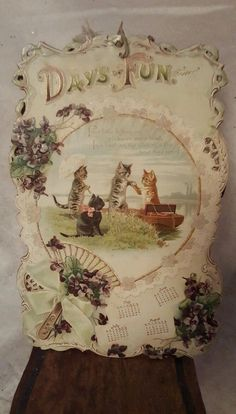 Antique 1890s Victorian Cat Calendar Cats Kittens Helena Maguire Black Cat Tabby (04/12/2016)