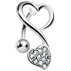 Top Mount Crystalline Gem Swirling Dual Hearts Belly Ring | Body Candy Body Jewelry #bodycandy