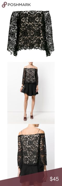 Alice and Olivia Lace Cold Shoulder Top NWT. Never used condition. Perfect lace top for going out! Has nude fabric sewn underneath the lace so that it is not see through! Please note that I did cut off the black straps off the top before wearing it, it has now created that cold shoulder look. Alice + Olivia Tops