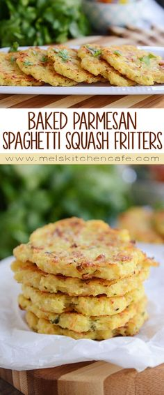 These delicious little spaghetti squash fritters are going to rock your world! Baked, not fried, they are loaded with Parmesan flavor and are so easy to make – we can't get enough of them!