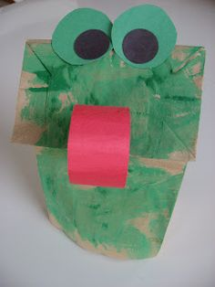 "Frog Puppet Craft- sing ""The Little Green Frog"" with the puppets after!"