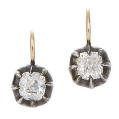 Antique Style Cushion Diamond Drop Earrings by Fred Leighton | From a unique collection of vintage drop earrings at https://www.1stdibs.com/jewelry/earrings/drop-earrings/