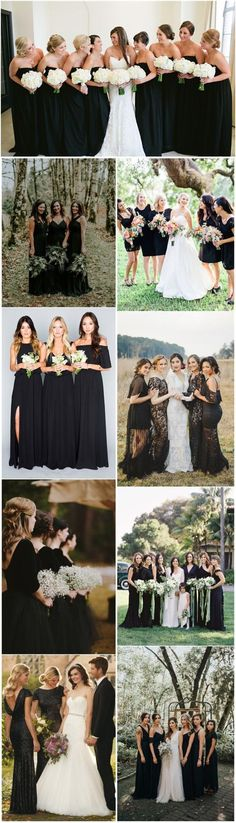 Be inspired by these black bridesmaid dresses.
