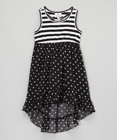 Look what I found on #zulily! Black Stripe & Polka Dot Chiffon Dress - Girls #zulilyfinds