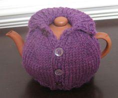 Trendy Knitting Patterns Free Tea Cosy Crochet Mug Cozy Tea Cosy Knitting Pattern, Tea Cosy Pattern, Knitting Patterns Free, Knit Patterns, Free Knitting, Knitting Stitches, Finger Knitting, Sewing Patterns, Grannies Crochet