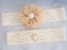 Taupe Wedding Garter Bridal Garter Wedding by nanarosedesigns, $16.95