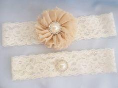Taupe Wedding Garter Bridal Garter Wedding by nanarosedesigns, $16.95